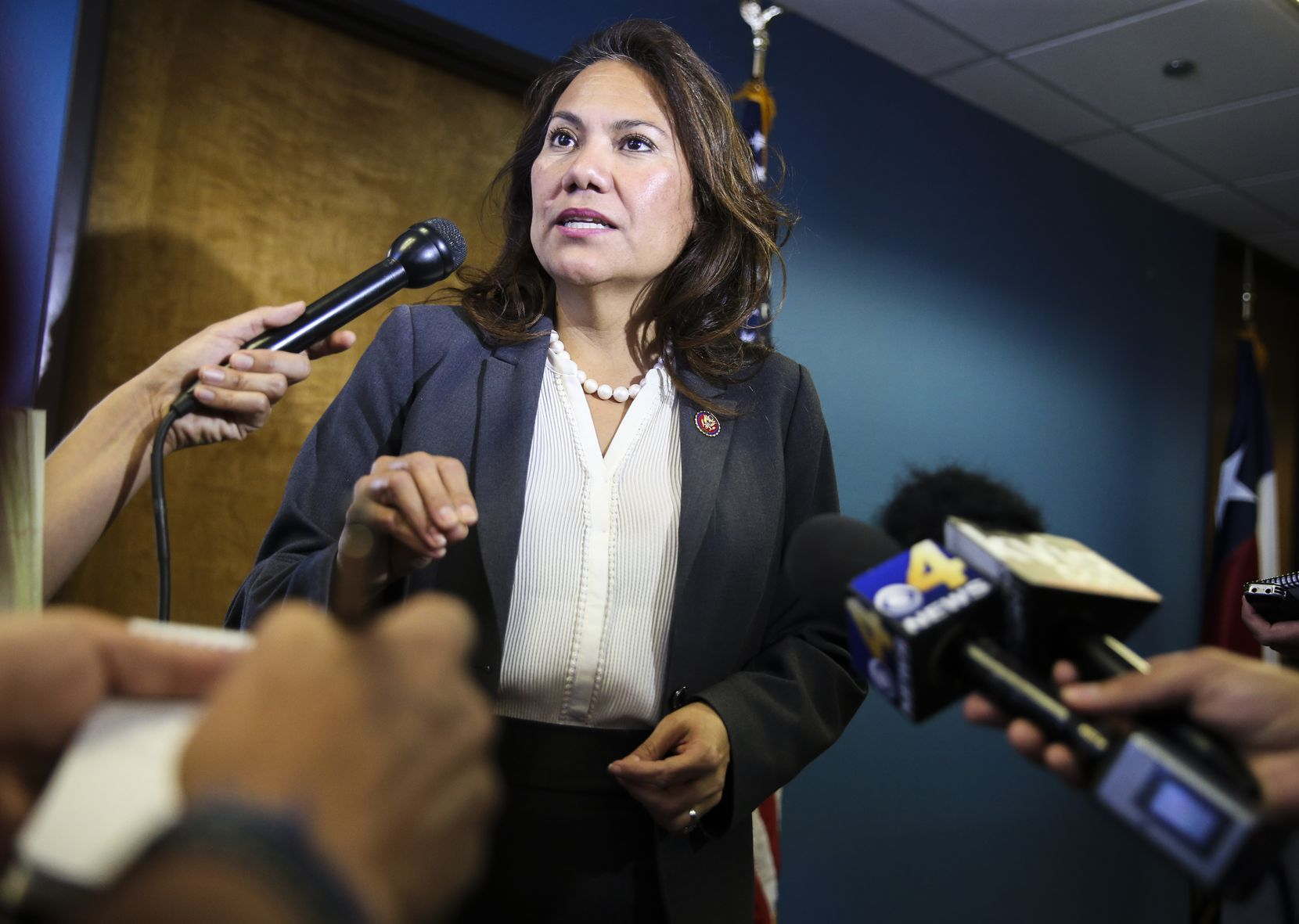 Rep. Veronica Escobar, D-Texas, speaks to members of the media during a news conference on Friday, March 29, 2019 in El Paso, .
