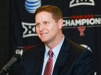 Texas Tech Athletic Director Kirby Hocutt answers questions from the media after being named the chairman of the College Football Playoff Selection Committee on January 16, 2016, at United Supermarkets Arena in Lubbock, Texas. (Photo by John Weast/Getty Images)