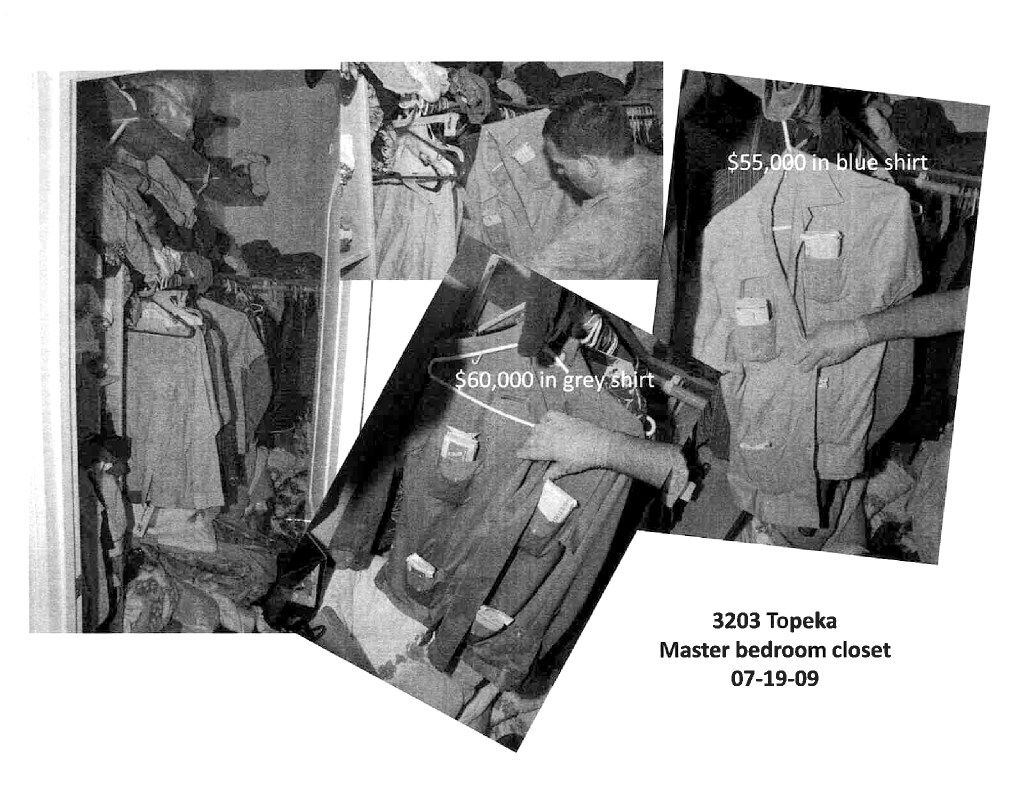 Denton police photos taken at Santos Coria's house on Topeka St. in West Dallas during a search in July 2009 show a closet with shirt pockets stuffed full of money. (Denton County district attorney's office)