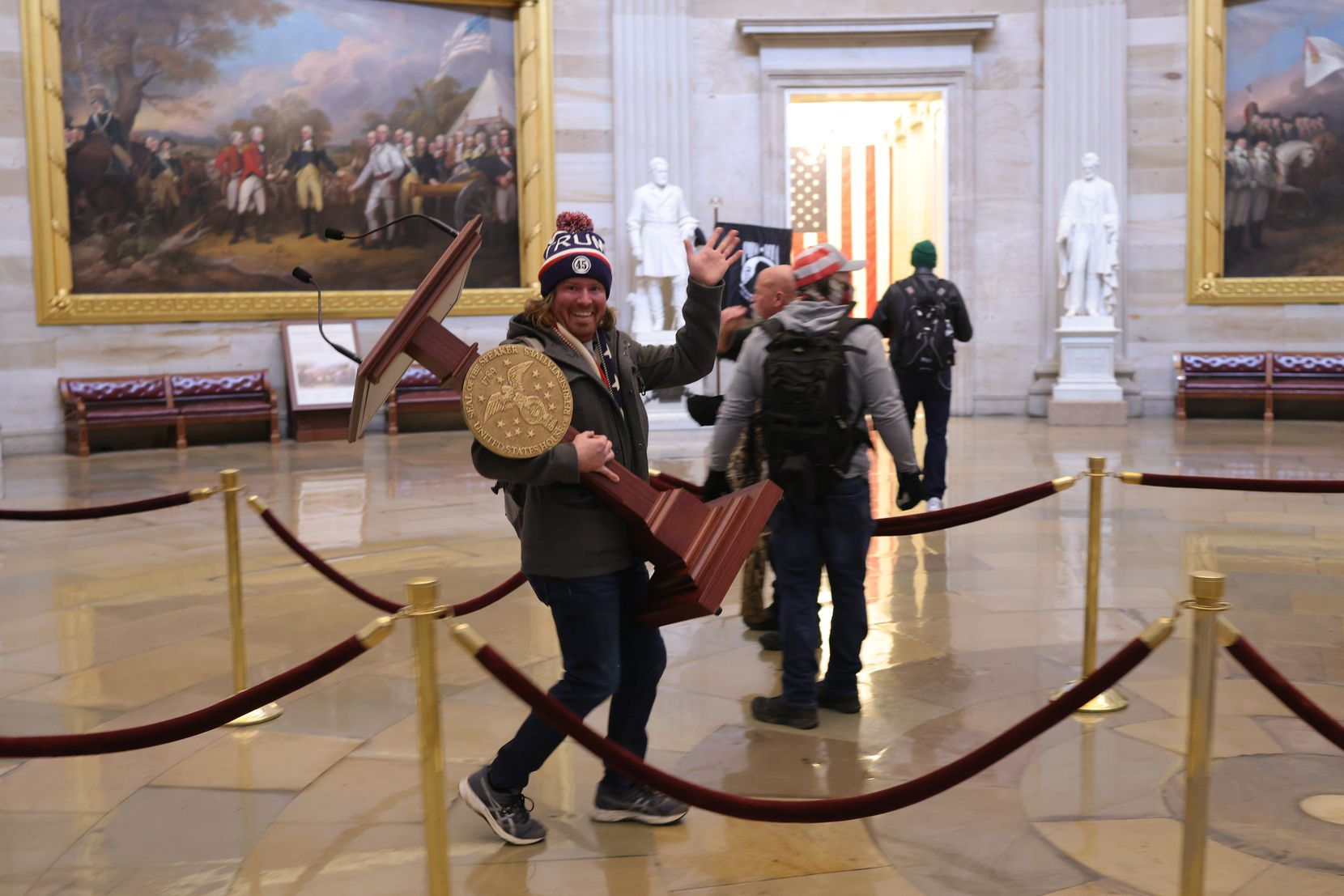 Protesters enter the U.S. Capitol Building on Jan. 6, 2021 in Washington, D.C. Congress held a joint session today to ratify President-elect Joe Biden's 306-232 Electoral College win over President Donald Trump. A group of Republican senators said they would reject the Electoral College votes of several states unless Congress appointed a commission to audit the election results. (Win McNamee/Getty Images/TNS)