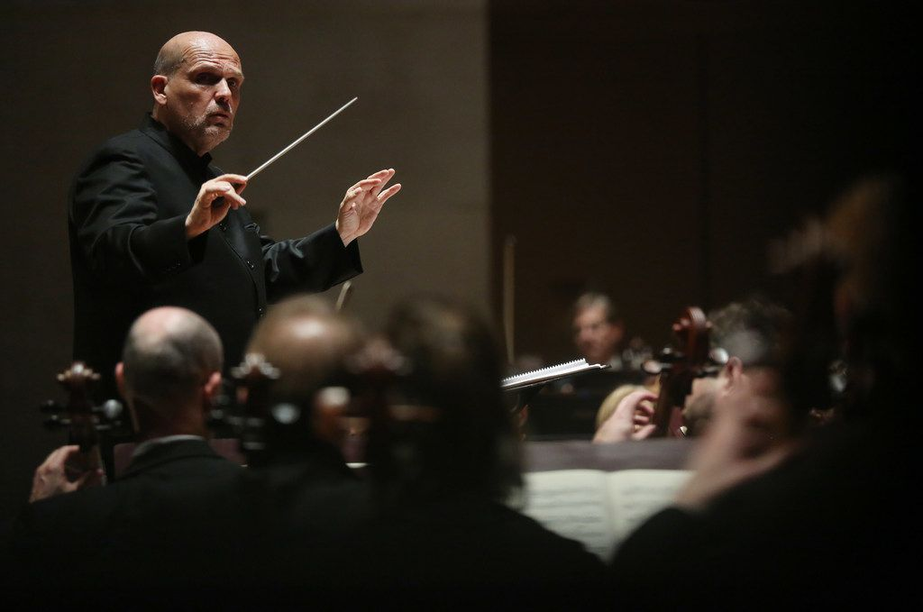 Jaap van Zweden conducts Symphony No. 9 by Beethoven along with the Dallas Symphony Orchestra and Chorus at the Meyerson Symphony Center in Dallas on Thursday, May 24, 2018.