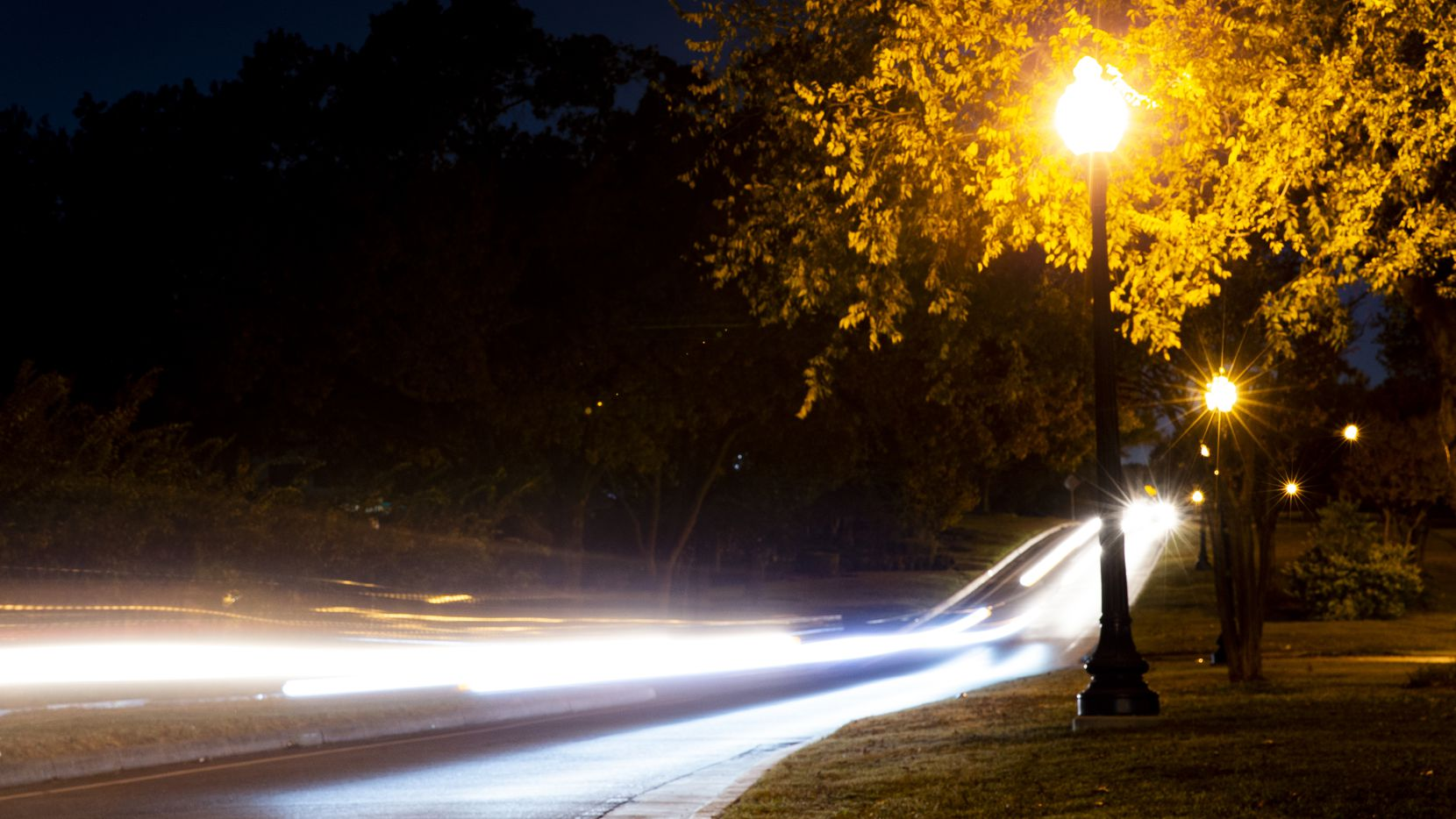 Street lights on West Red Bird Lane in Dallas photographed on Friday, Nov. 5, 2020.