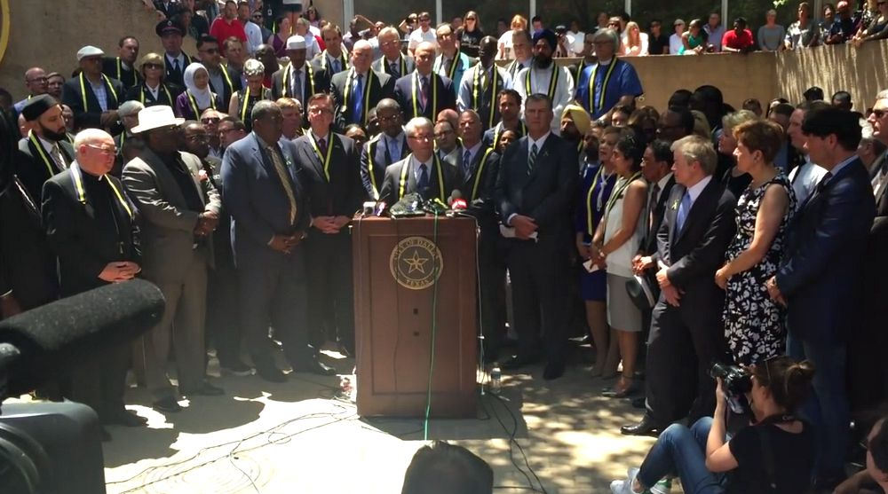 Rabbi David Stern was among those religious and political leaders who spoke in Thanks-Giving Square on July 8, the day after five Dallas police officers were slain in downtown.