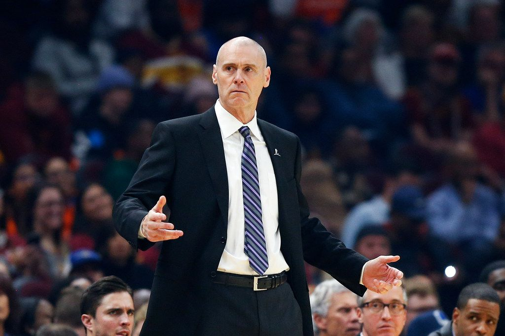 Dallas Mavericks head coach Rick Carlisle watches against the Cleveland Cavaliers in the first half of an NBA basketball game, Sunday, Nov. 3, 2019, in Cleveland. The Mavericks defeated the Cavaliers 131-111. (AP Photo/Ron Schwane)