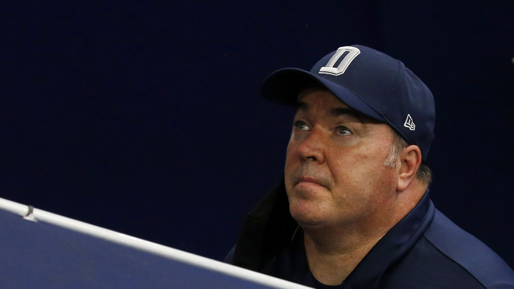Cowboys head coach Mike McCarthy is pictured before a halftime interview during a game against the Falcons on Sunday, Sept. 20, 2020, at AT&T Stadium in Arlington.
