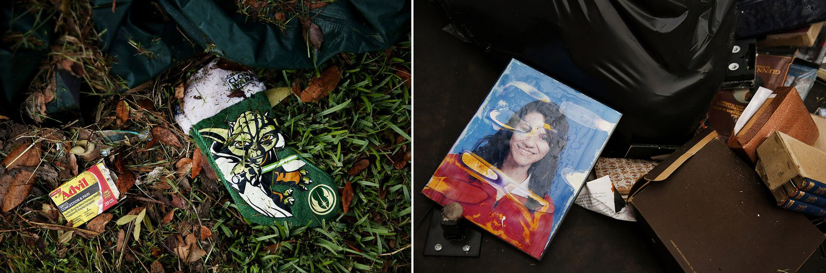 Trash left behind gives a glimpse of flood victims' lives, from Star Wars fans to students.