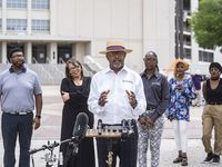Elite News and the Blair Foundation is hosting the city's first ever Juneteenth March and Festival on June 19. Seen here is Darryl Blair, publishing editor of Elite News at a press conference Thursday at the Fair Park.