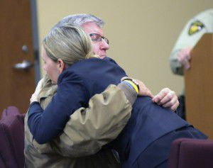 Bernie Tiede hugs attorney Jodi Cole after both sides in his trial rested Friday in Henderson. Cole took on Tiede's case after seeing the Richard Linklater movie about him. (Kevin Green/Longview News-Journal)