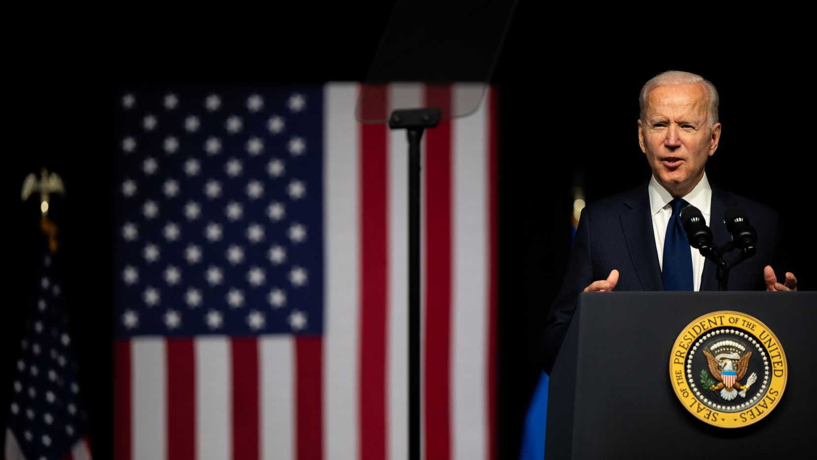 President Joe Biden speaks at an event to commemorate the 100th anniversary of the Tulsa Race Massacre on June 1, 2021 in Tulsa, Okla.