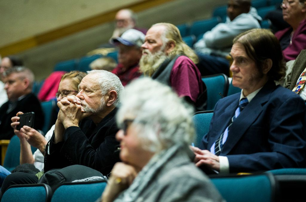 People watch from their seats as the Dallas Landmark Commission listens to public hearing before voting to remove the Confederate War Memorial in front of the downtown convention center on Monday, March 4, 2019 at Dallas City Hall. (Ashley Landis/The Dallas Morning News)