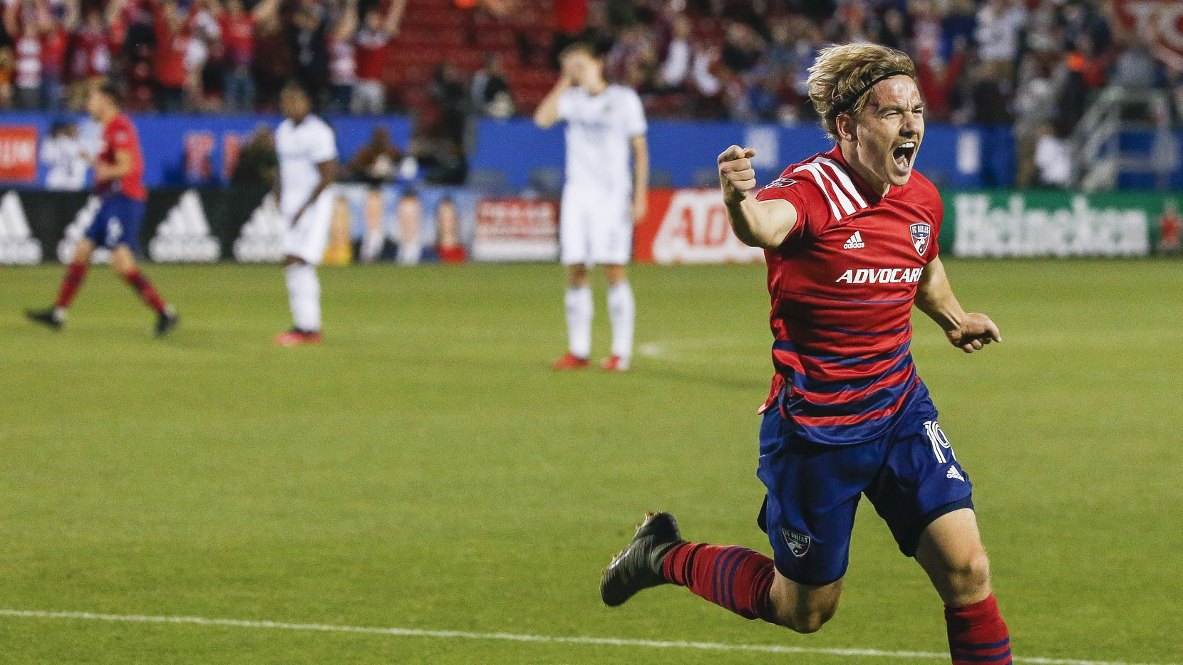FC Dallas midfielder Paxton Pomykal (19) celebrates a goal during the second half of an MLS soccer match between FC Dallas and Philadelphia Union on Saturday, Feb. 29, 2020 at Toyota Stadium in Frisco, Texas.