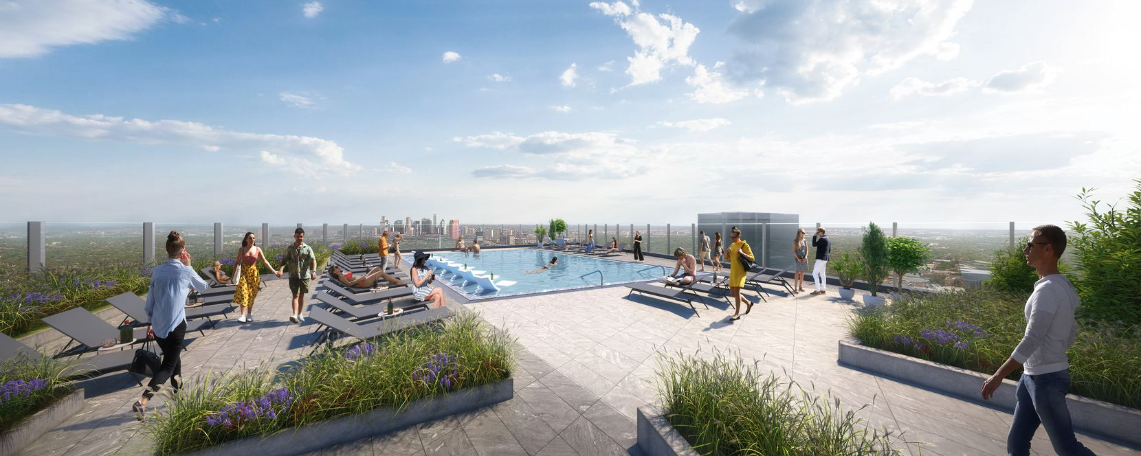 An artists rendering the the top floor pool deck at the Eastline Residences apartment  tower.