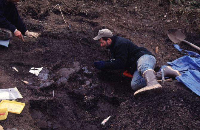 Anthony Fiorillo excavates a Pachyrhinosaurus perotorum at a quarry in Alaska.