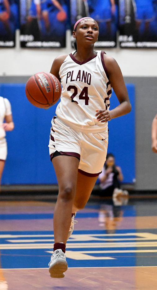 Plano's Amaya Brannon brings the ball up court in the first half of a Class 6A girls high school playoff basketball game between Plano vs. Richardson, Monday, Feb. 22, 2020, in Carrollton, Texas. (Matt Strasen/Special Contributor)