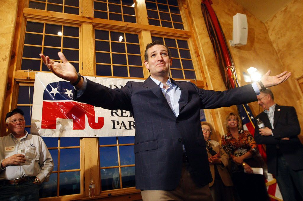 Sen. Ted Cruz, R-Texas, spoke during a Republican Party of Dubuque County reception at Park Farm Winery in Durango, Iowa, on April 1, 2015.