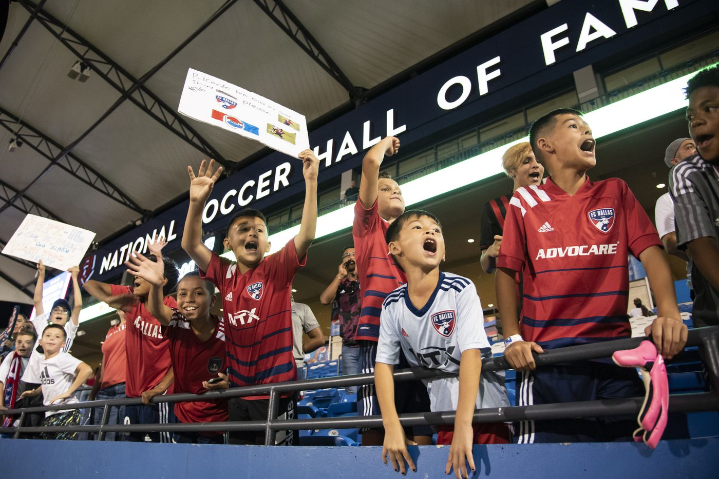 Young fans yell ÒPepi!Ó in hopes that he will come greet them after FC DallasÕ home game against the San Jose Earthquakes at Toyota Stadium in Frisco, Texas on Saturday, September 11, 2021. The game ended in a 1-1 tie. (Emil Lippe/Special Contributor)