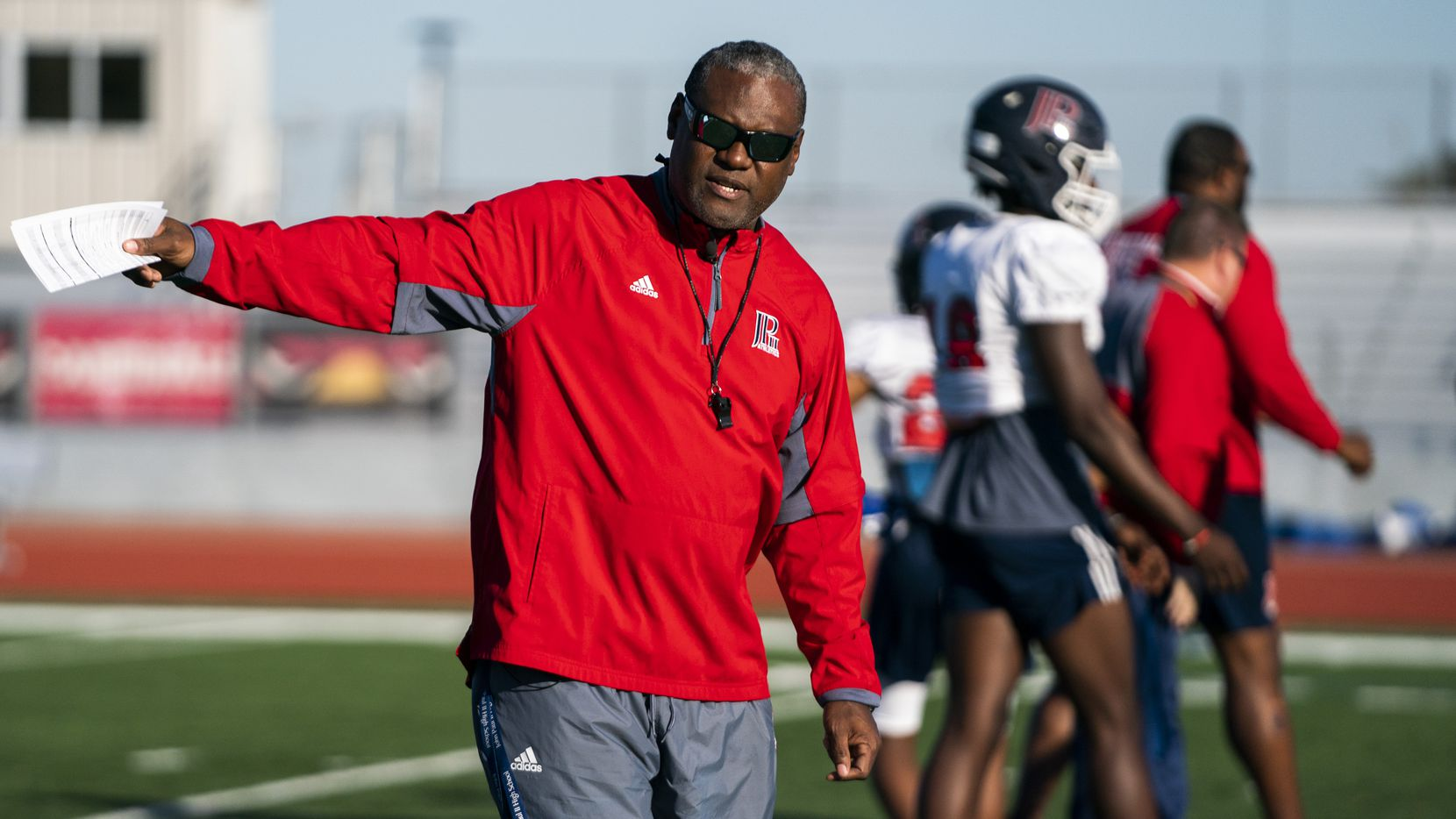 Head Coach George Teague gives instructions as the John Paul II High School football team practices on Tuesday, December 3, 2019 in Plano. They play in the TAPPS Division I state championship game on Friday. Teague was a safety for the Dallas Cowboys. (Ashley Landis/The Dallas Morning News)