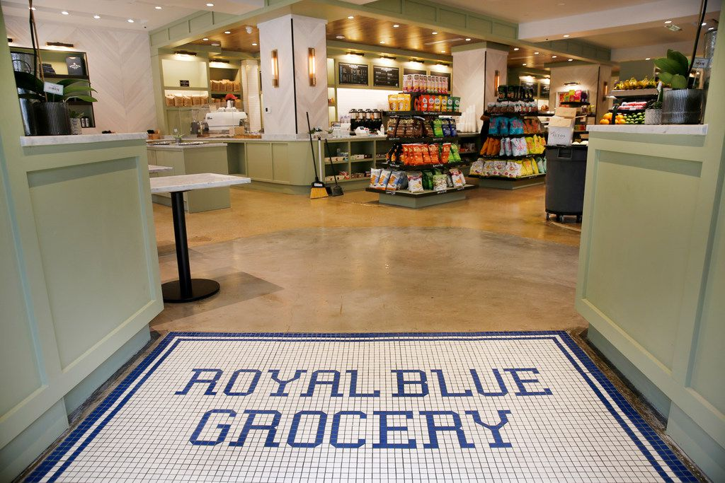 The Royal Blue Grocery tile entryway welcomes shoppers and diners to it's new store at Main and Ervay streets in downtown Dallas, Friday, July 27, 2018. (Tom Fox/The Dallas Morning News)