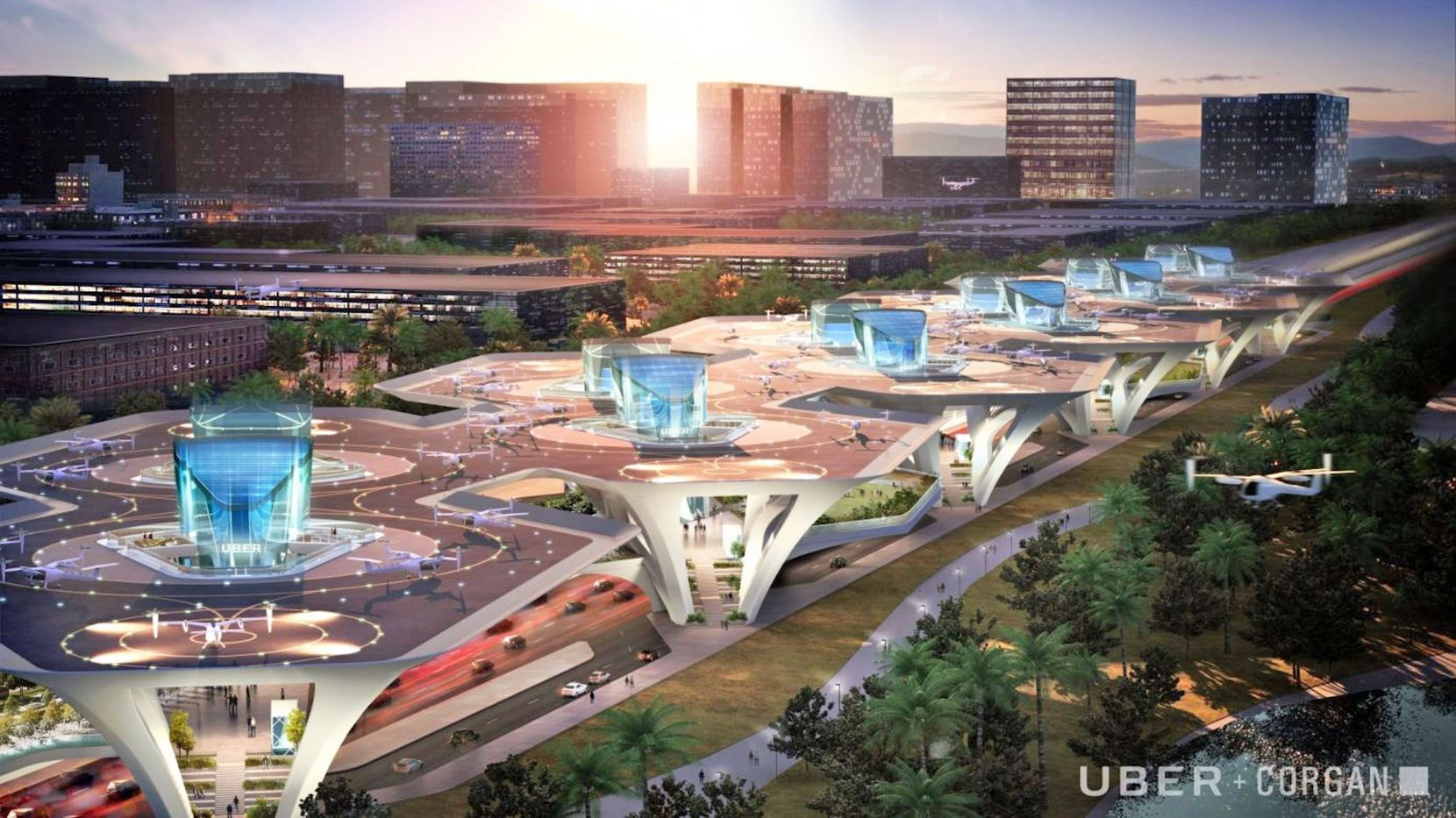 A design concept from Dallas architect Corgan for an Uber flying vehicle terminal.