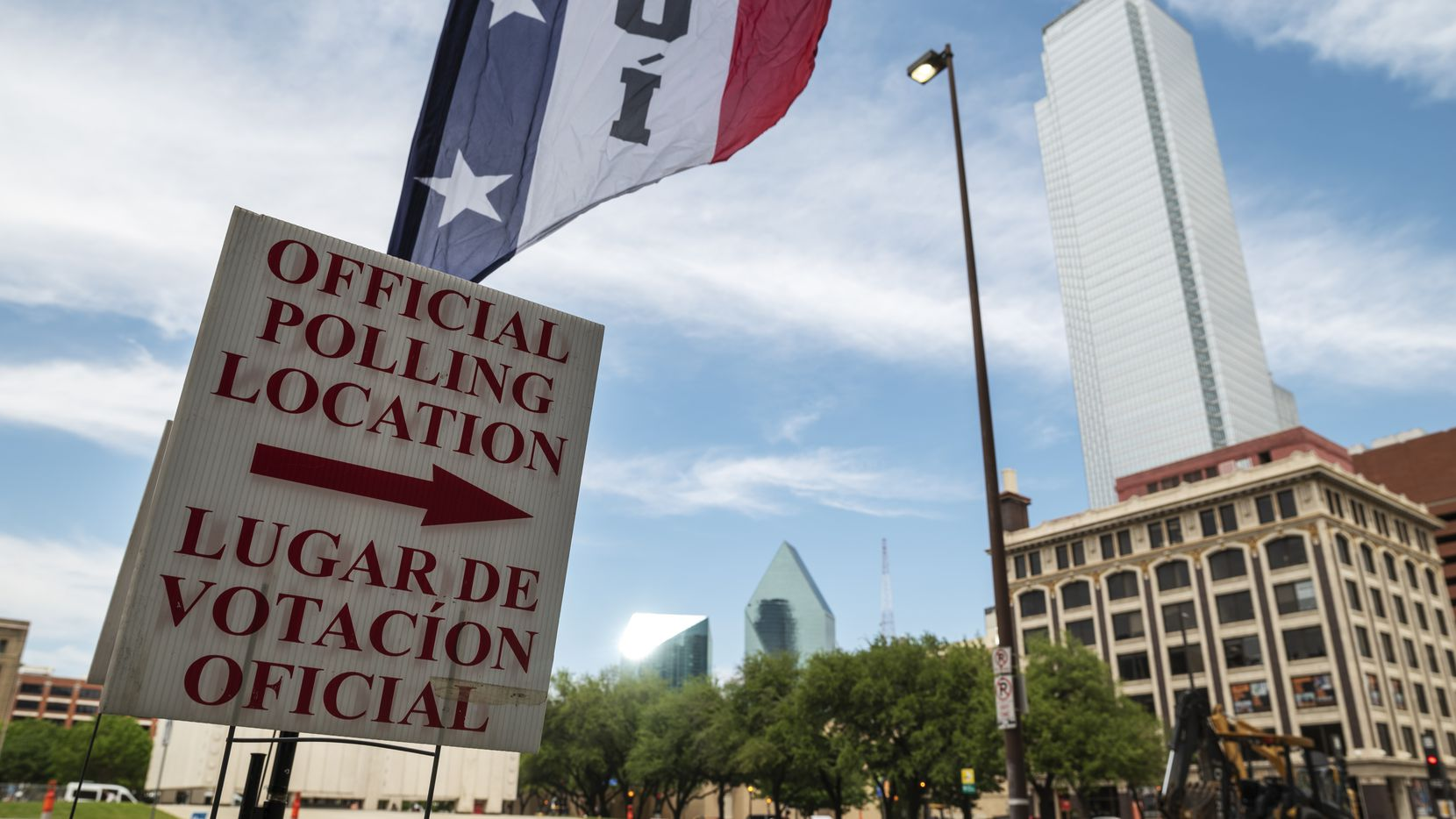 Signage marking an official polling location outside of the  George Allen Courts building in Downtown Dallas, during the first day of early voting, on Monday, April 19, 2021