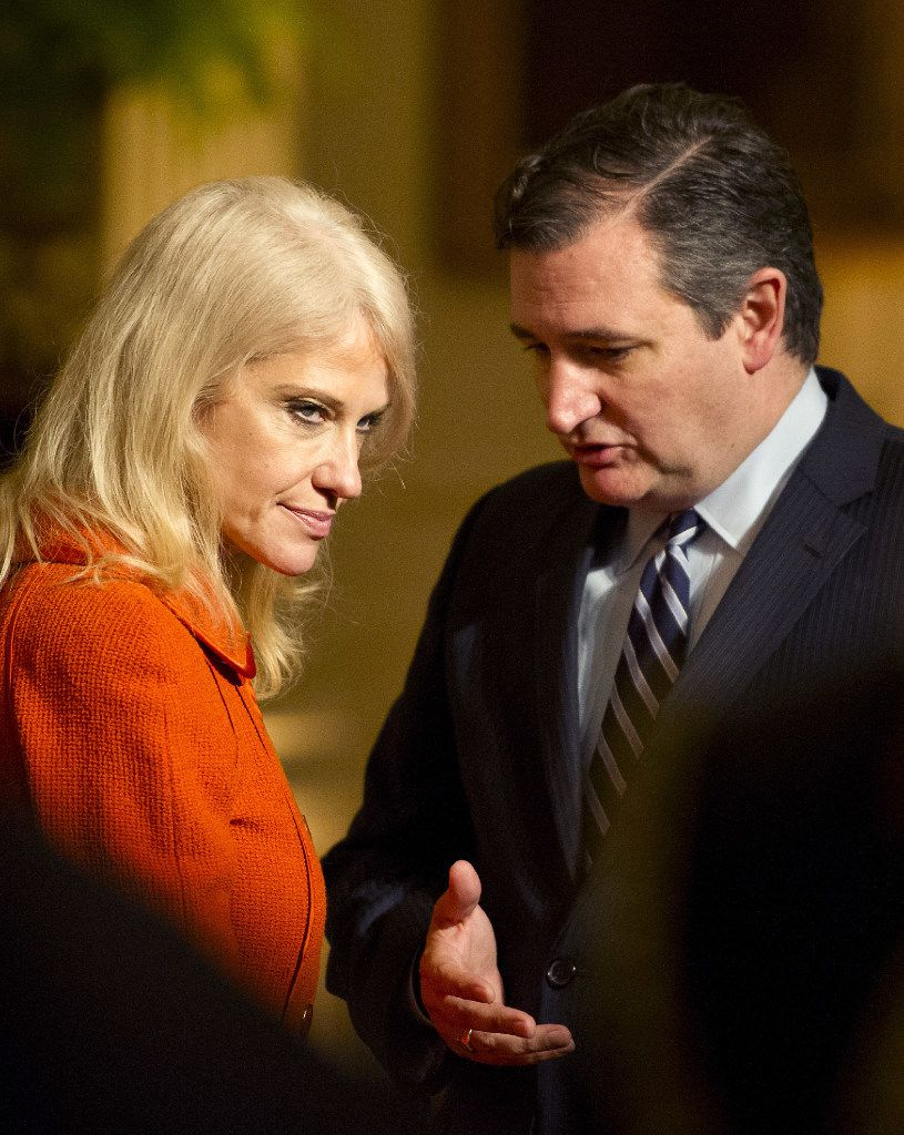 WASHINGTON, DC - MARCH 28: (AFP OUT) U.S. Sen. Ted Cruz (R-TX) (R) and Counselor to the President Kellyanne Conway (L) engage in conversation prior to the arrival of U.S. President Donald Trump at a reception for U.S. Senators and their spouses in the East Room of the White House on March 28, 2017 in Washington, DC. (Photo by Ron Sachs - Pool/Getty Images)