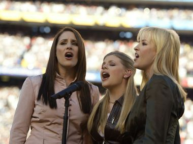 The Dixie Chicks perform the national anthem before the start of Super Bowl XXXVII between the Tampa Bay Buccaneers and the Oakland Raiders on Jan. 26, 2003 at Qualcomm Stadium in San Diego, Calif. The Dixie Chicks are now simply known as The Chicks.