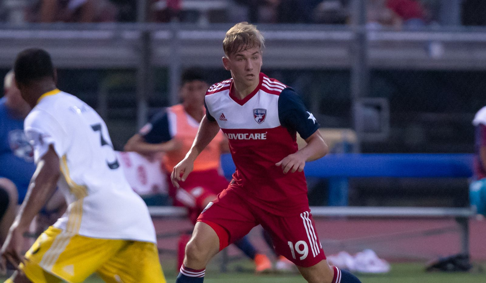 DALLAS, TX - JUNE 19: Paxton Pomykal in action during the Lamar Hunt U.S. Open Cup round of 16 soccer game between FC Dallas and New Mexico United on June 19, 2019 at Westcott Field in Dallas, Texas.  (Photo by Matthew Visinsky)