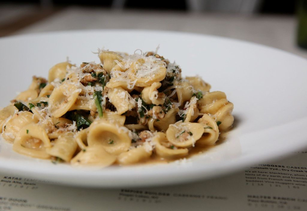 Orecchiette with chicken sausage and dandelion greens