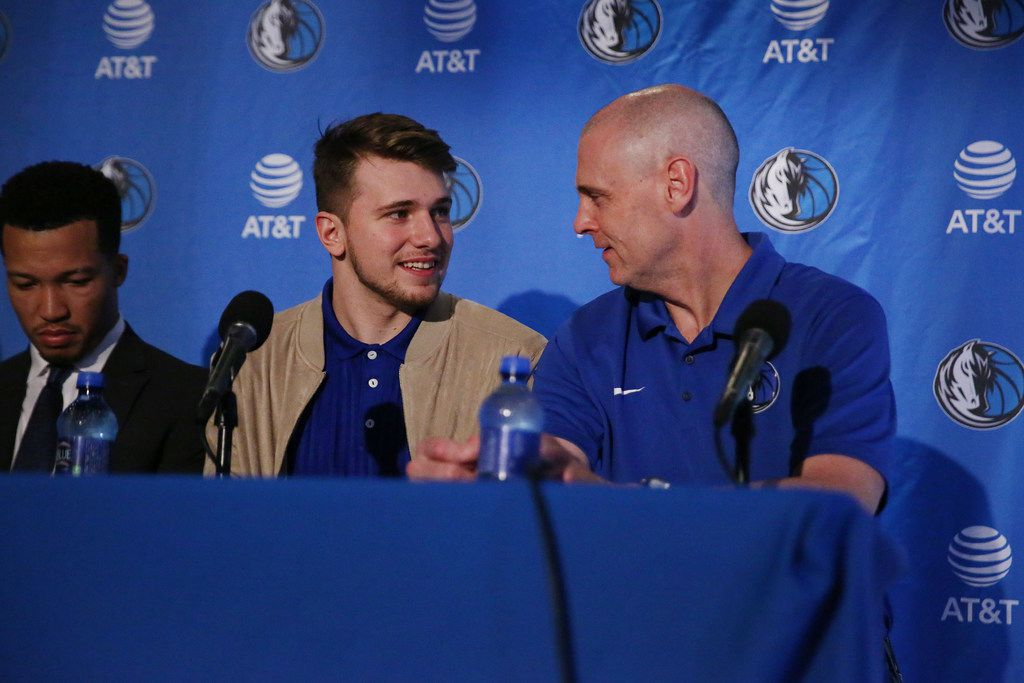 New Dallas Mavericks player Luka Doncic speaks with head coach Rick Carlisle before Doncic is introduced at the American Airlines Center in Dallas Friday June 22, 2018. Doncic was drafted by the Atlanta Hawks with the third overall pick of the 2018 National Basketball Association draft and traded for the Dallas Mavericks fifth overall draft pick Trae Young. (Andy Jacobsohn/The Dallas Morning News)