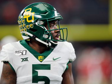 Baylor Bears wide receiver Denzel Mims (5) is pictured during warmups before facing the Oklahoma Sooners in the Big 12 Championship at AT&T Stadium in Arlington, Saturday, December 7, 2019.
