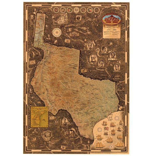 It requires months of research before Chris Smith begins to draw the minute historical details of one of his maps, such as the  Republic of Texas map.