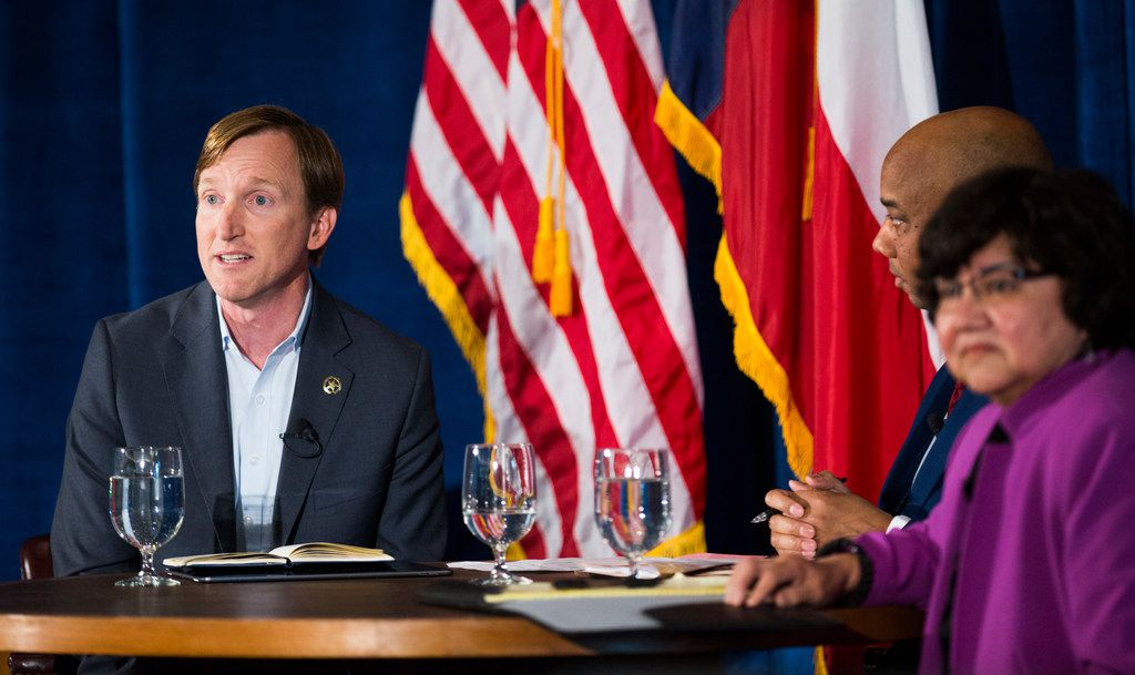 Gubernatorial candidates Andrew White and Lupe Valdez debate on Friday, May 11, 2018 at St. James Episcopal Church in Austin. The debate was moderated by political writer Gromer Jeffers, center, of The Dallas Morning News.