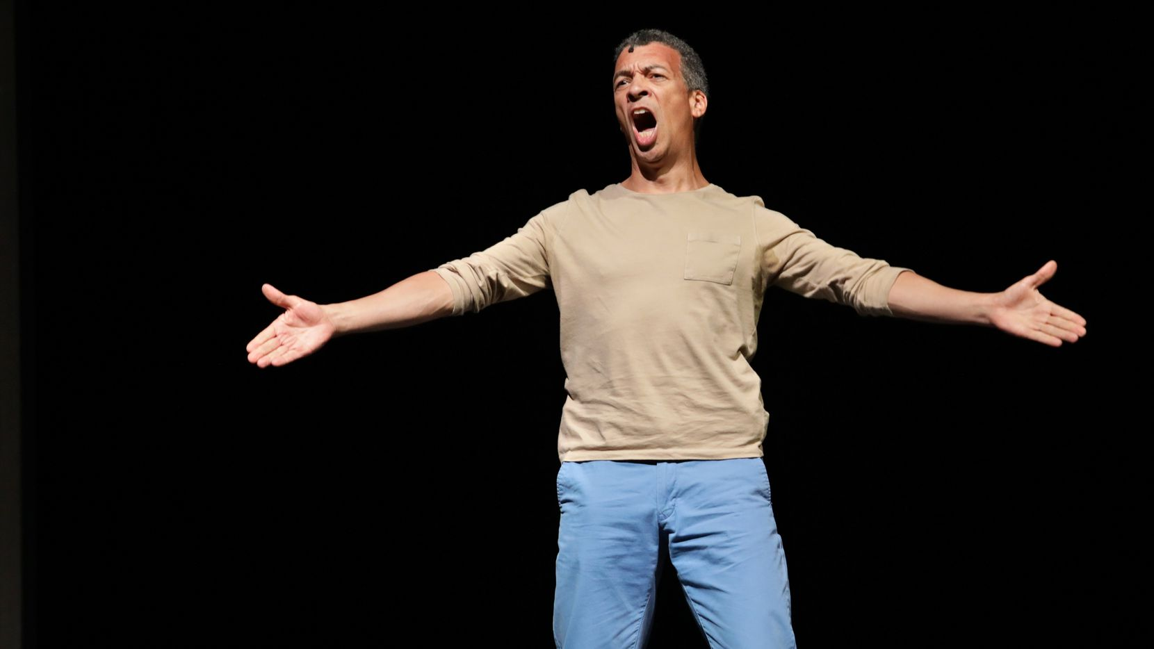 """Roderick Williams performs in the Dallas Opera's production of """"Sunken Garden,"""" by Michel van der Aa, at the Winspear Opera House in 2018. The DO Guild Biennial Lone Star Vocal Competition is going virtual this year and the contestant with the most votes will be announced as the winner on June 8 via social media and the DO's website."""