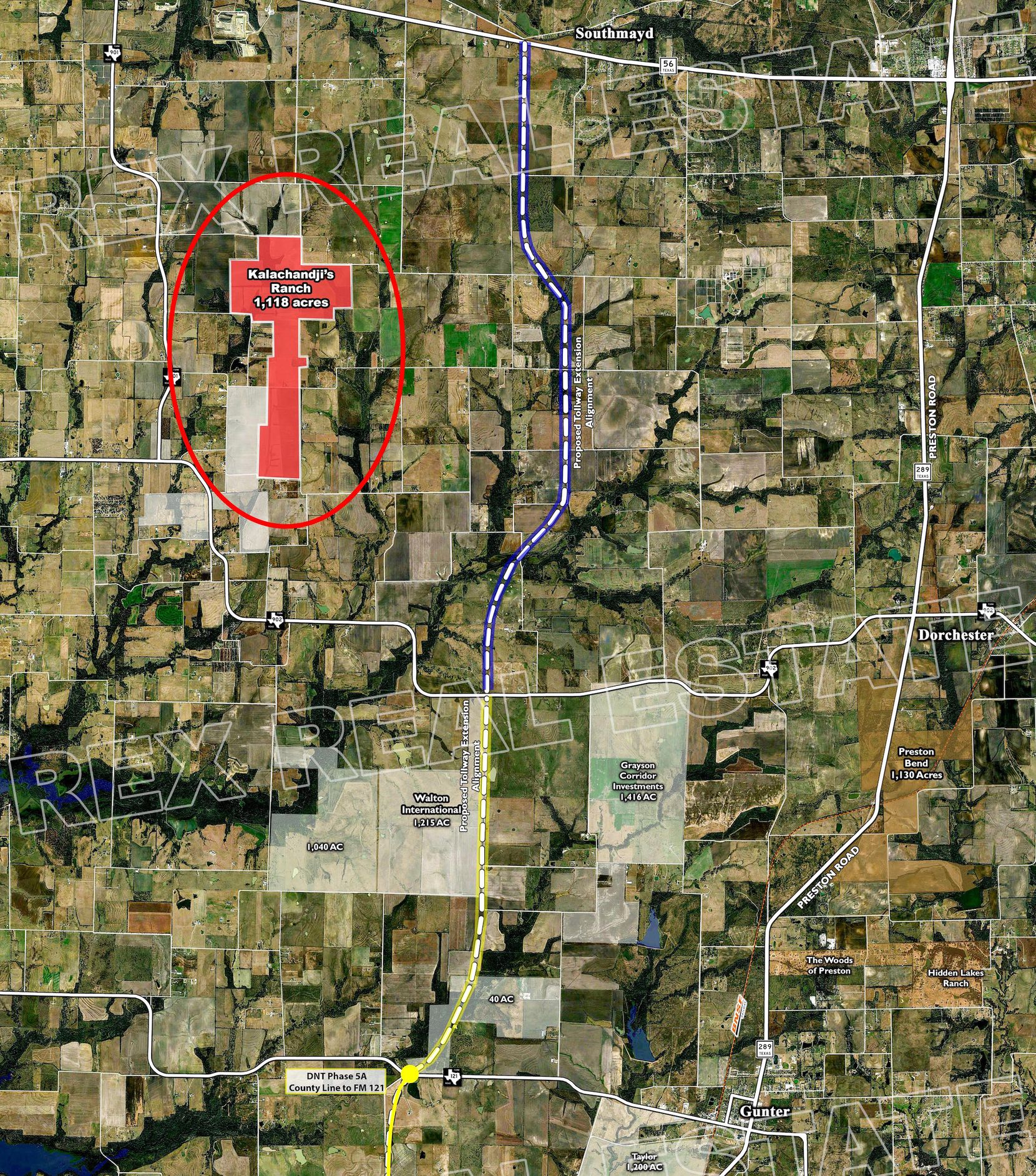 The 1,100-acre purchase is north of the town of Gunter.