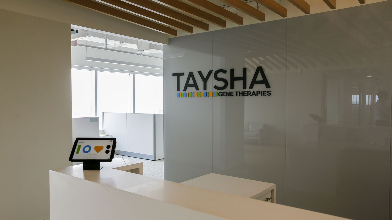 The front desk of the Taysha Gene Therapies office at Pegasus Park in Dallas.