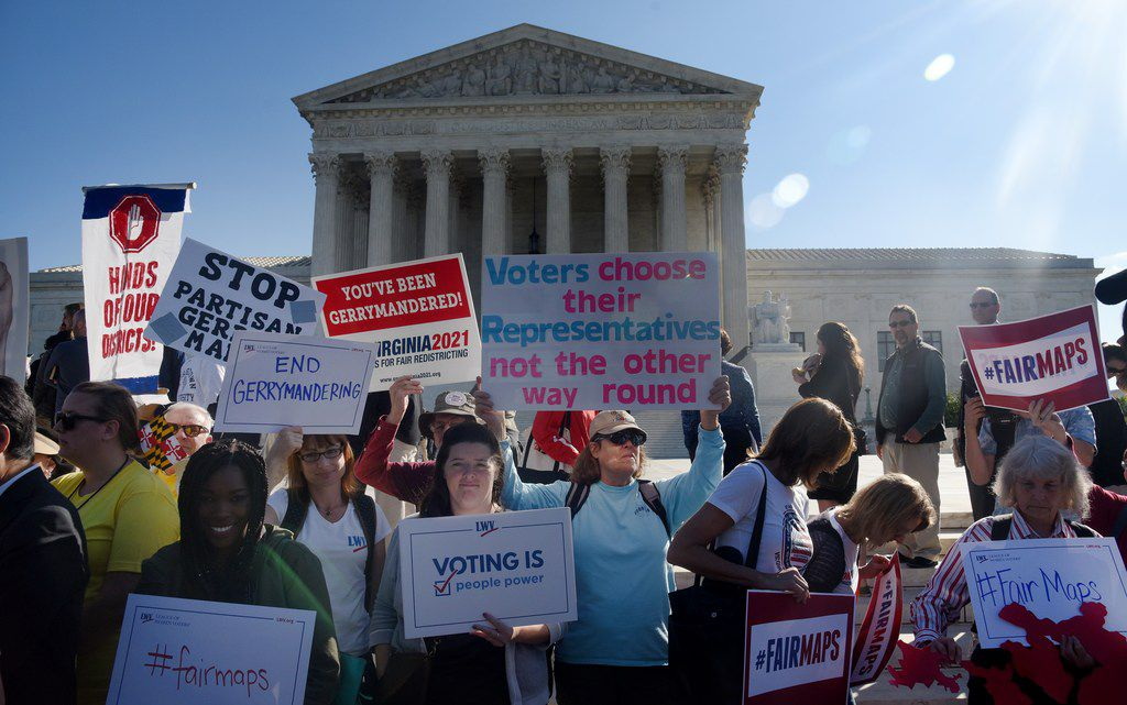 Demonstrators gathered outside the U.S. Supreme Court last October during oral arguments in Gill vs. Whitford to call for an end to partisan gerrymandering.