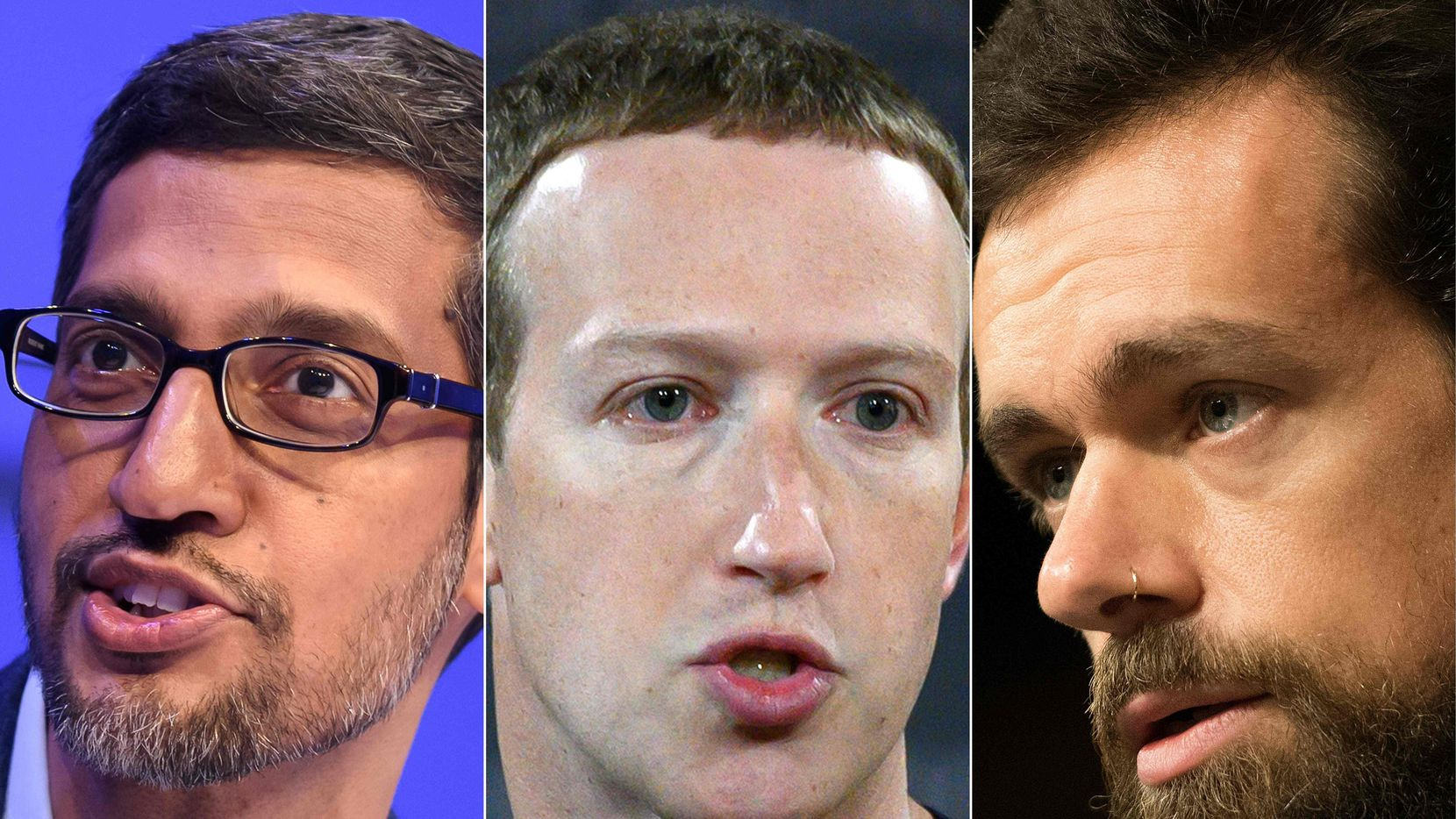 Alphabet CEO Sundar Pichai, Facebook founder Mark Zuckerberg, and Twitter CEO of Twitter Jack Dorsey.