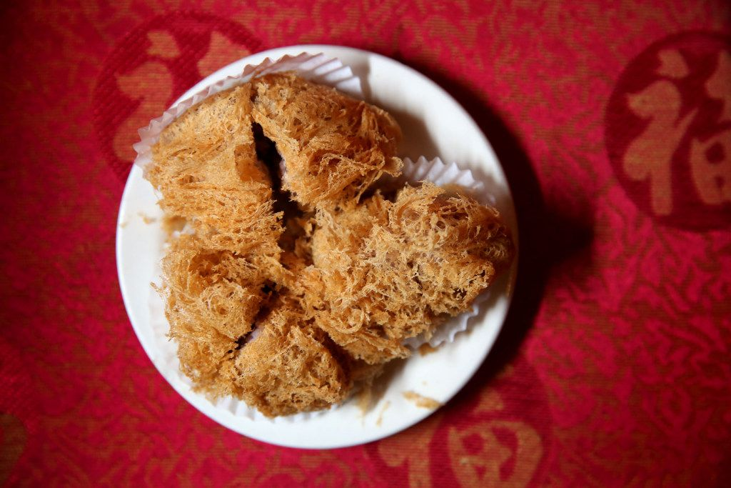 These fried taro balls at Kirin Court have been snipped in half for easy sharing.