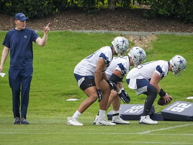 Dallas Cowboys offensive line coach Joe Philbin directs a drill during a minicamp practice at The Star on Wednesday, June 9, 2021, in Frisco.