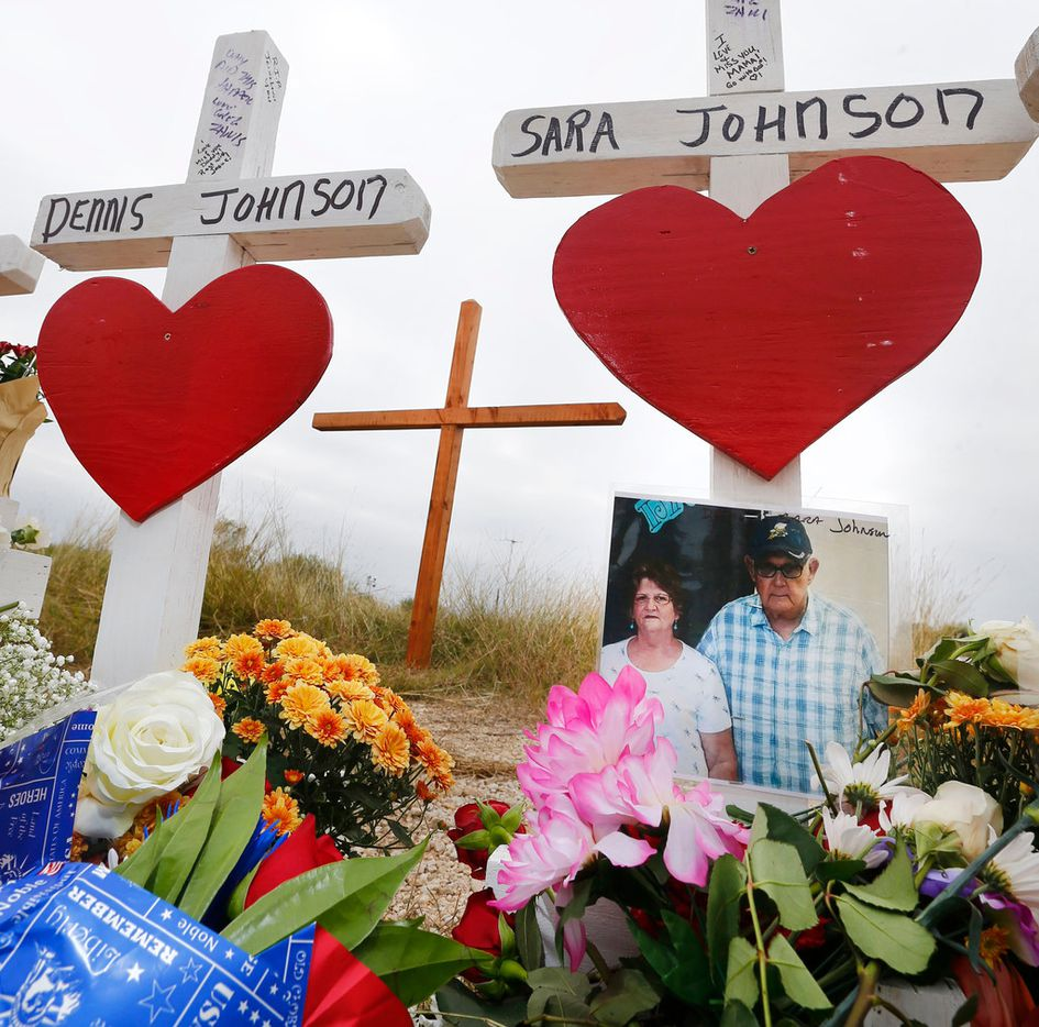 A photo of Dennis and Sara Johnson at a memorial in front of First Baptist Church in Sutherland Springs, Texas on Nov. 10, 2017. The church in Sutherland Springs, Texas was the site of a shooting that killed 26 parishioners and left 30 injured. (Nathan Hunsinger/The Dallas Morning News) ORG XMIT: DMN1711141723561701