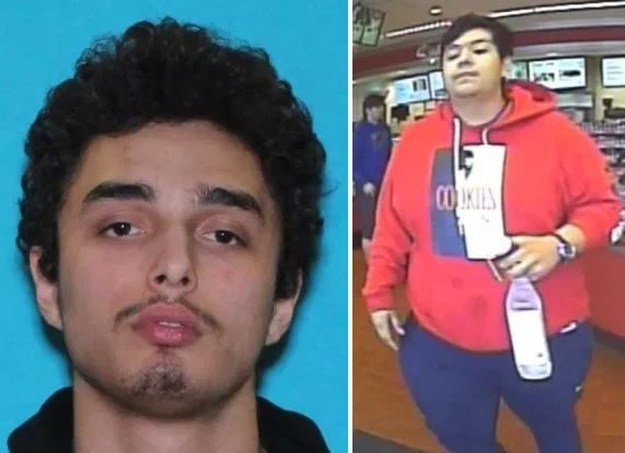 Dallas police are searching for 19-year-old Julian Mekai Sesalem (left) and an unknown second suspect (right) in the March 22 shooting death of Kaleb Simpson.
