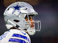 FILE — Dallas Cowboys quarterback Dak Prescott (4) looks up during warmups before an NFL game, September 16, 2018. Prescott wrote a letter to Oklahoma Gov. Kevin Stitt and the Oklahoma Pardon and Parole Board calling for the release of Julius Jones, a Black man convicted in 2002 of first-degree murder after a 1999 carjacking and killing of a white man in Edmond, Okla.