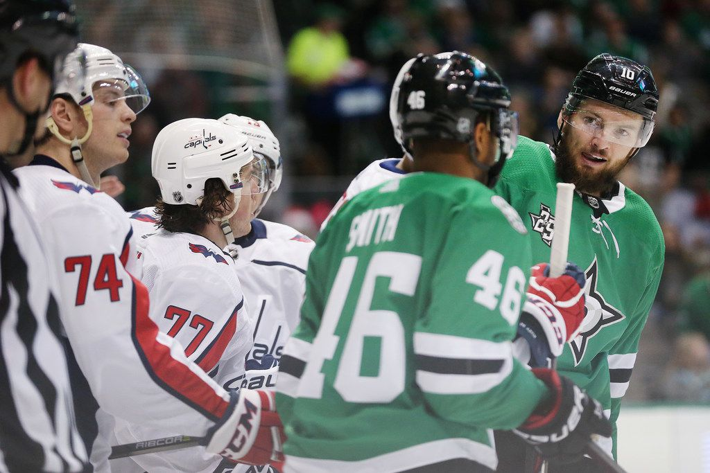 FILE - Dallas Stars center Martin Hanzal (10) looks over at center Gemel Smith (46) in the third period during a National Hockey League game between the Washington Capitals and the Dallas Stars at the American Airlines Center in Dallas Tuesday December 19, 2017. Dallas Stars lost 3-4 in overtime. (Andy Jacobsohn/The Dallas Morning News)