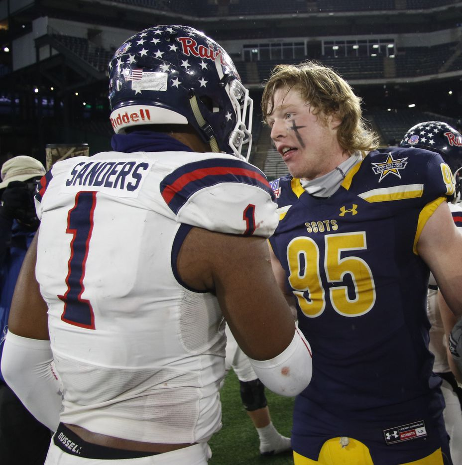 Highland Park defensive end Jack Curtis (95) speaks with Denton Ryan receiver Ja'Tavion Sanders (1) at midfield following Ryan's 17-7 victory to advance. The two teams played their Class 5A Division l Region ll final football playoff game at Globe Life Park in Arlington on January 1, 2021. (Steve Hamm/ Special Contributor)