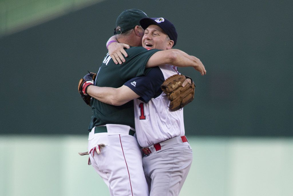 WASHINGTON, DC - JUNE 14: Rep Steve Scalise (R-LA) celebrates with Rep Jeff Duncan (R-SC) after making a play to first base resulting in an out after fielding a ground ball on the first pitch of the Congressional Baseball Game on June 14, 2018 in Washington, DC. Scalise was shot during a team practice before last years game. This is the 57th annual game between the Republicans and Democrats.
