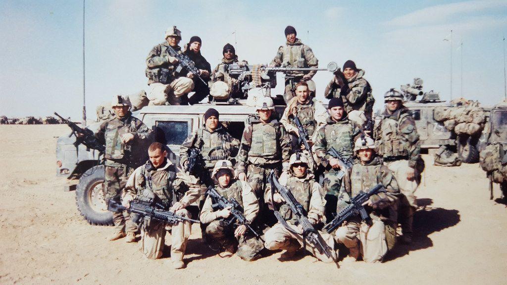 Brandon Friedman (center right) in Iraq during the war.