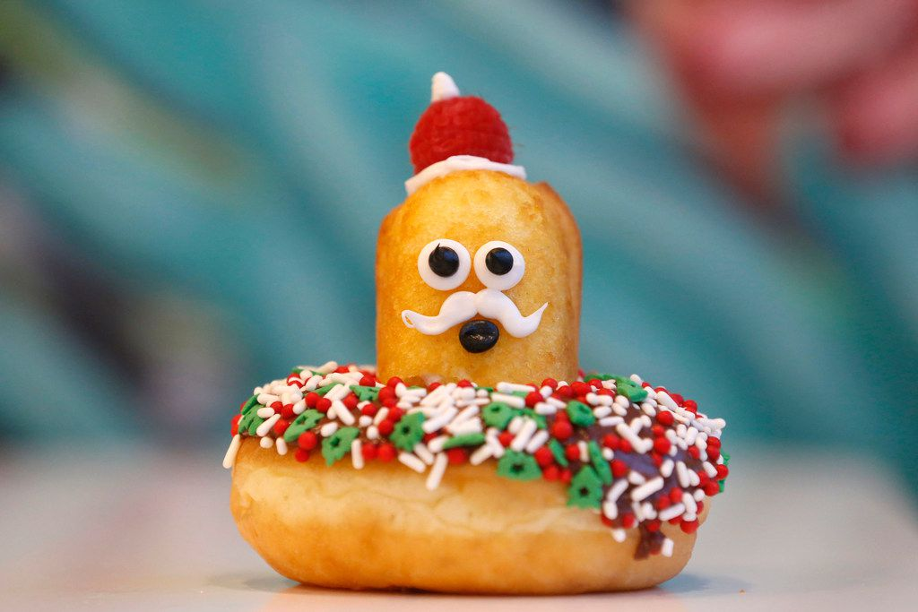 Surprise! Santa Claus pops out of this doughnut from Jarams Donuts.