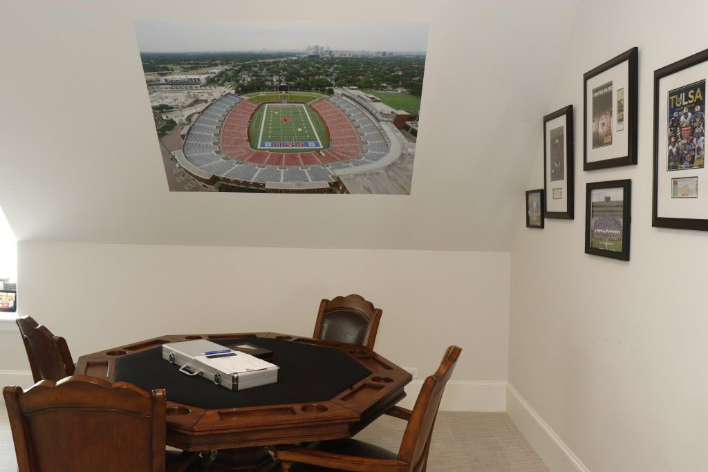 SMU head football coach Chad Morris has a recruitment room on the third floor in his home in Highland Park, Texas. Photo taken on Friday, June 23, 2017. (David Woo/The Dallas Morning News) sportsmagsmuphoto