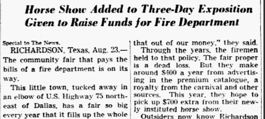 Snip from Dallas Morning News article published on Aug. 24, 1941.
