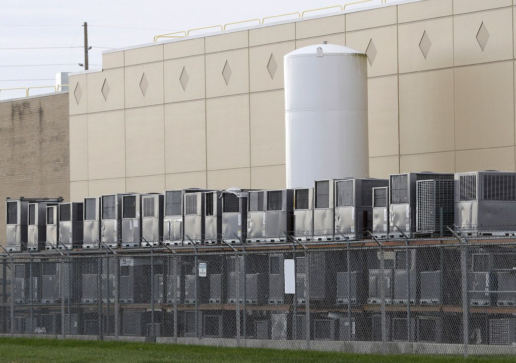 Air conditioning units are stacked outside the Carrier Corp. plant in Indianapolis.